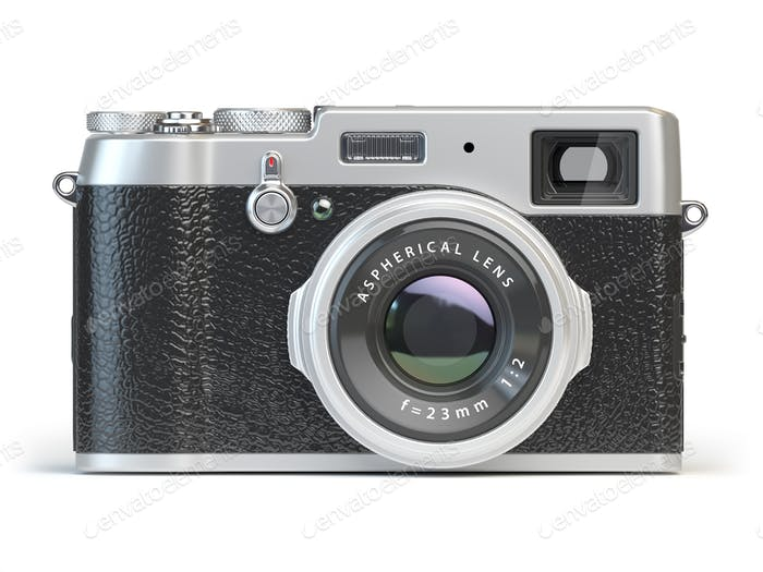 Vintage photo camera isolated on white.