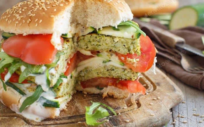Fried vegetarian broccoli  burgers