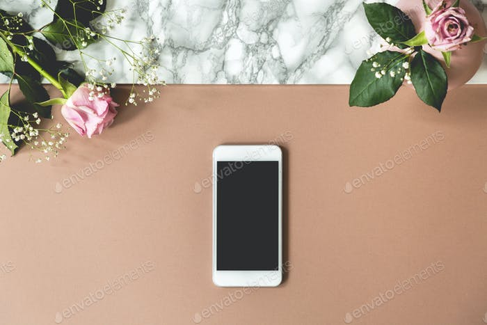 Two pink roses on top view photo of marble table with mockup pho