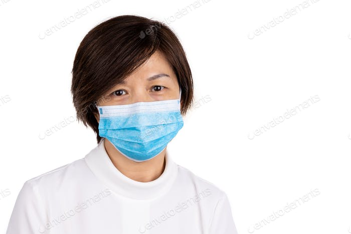 Asian women with face mask for protection against influenza virus