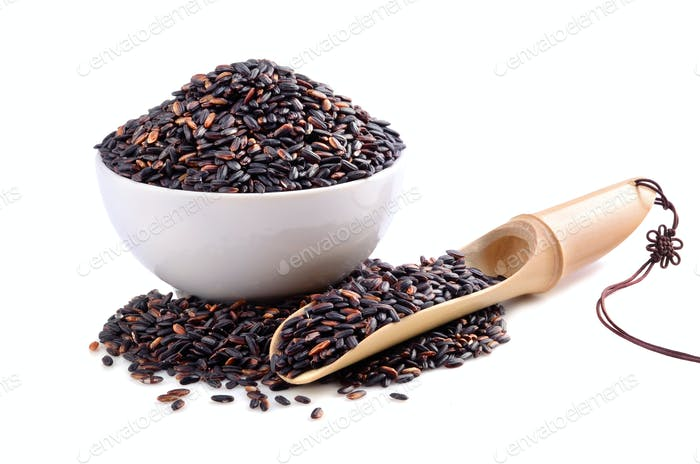Black rice in round bowl