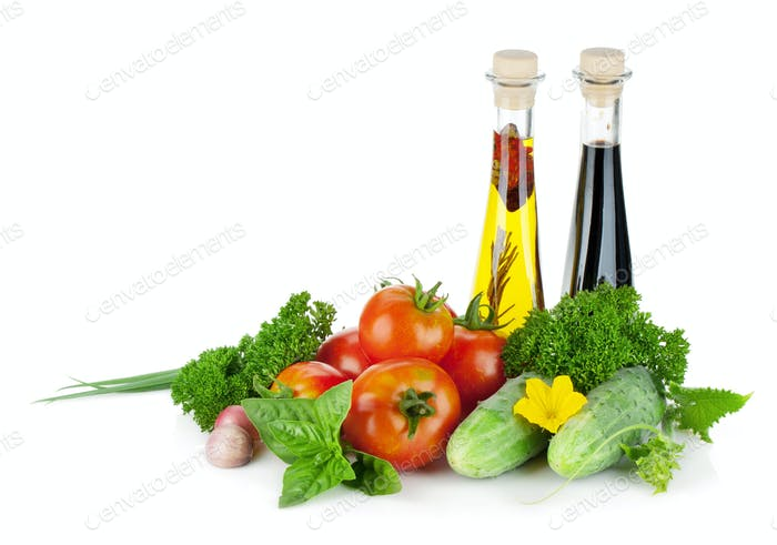 Ripe vegetables and herbs