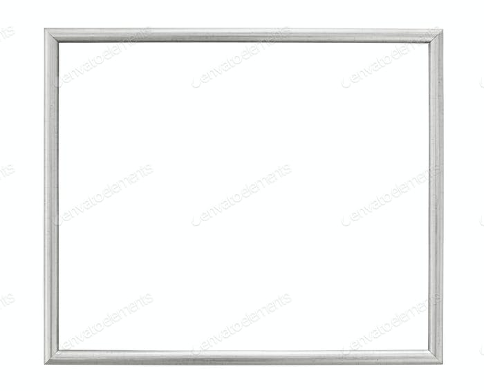 Silver colored picture frame on white background