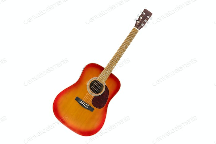 cherry sunburst acoustic guitar in white background