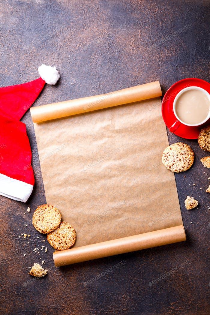 Weihnachtskonzept Wunschliste für Santa Claus laid