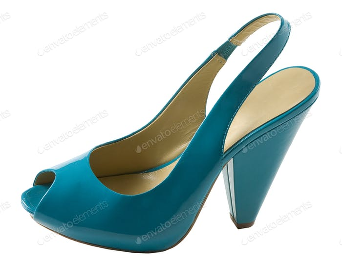 Turquoise patent leather peep toe