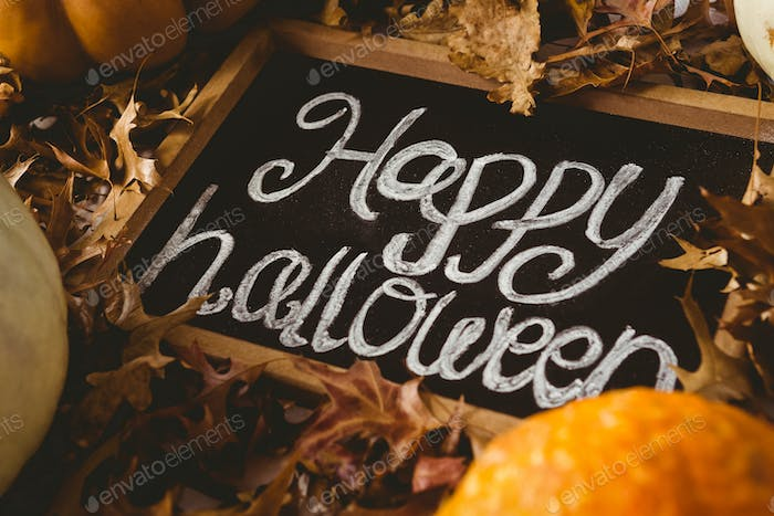 Happy halloween text on slate with autumn leaves