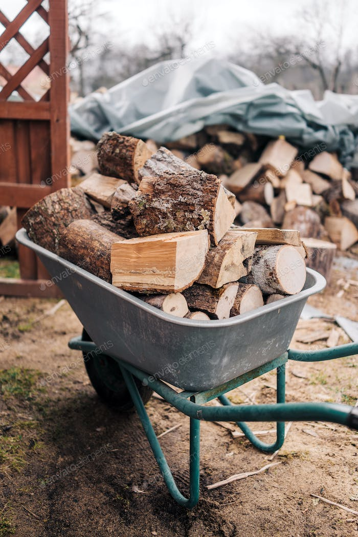Firewood in a wheelbarrow