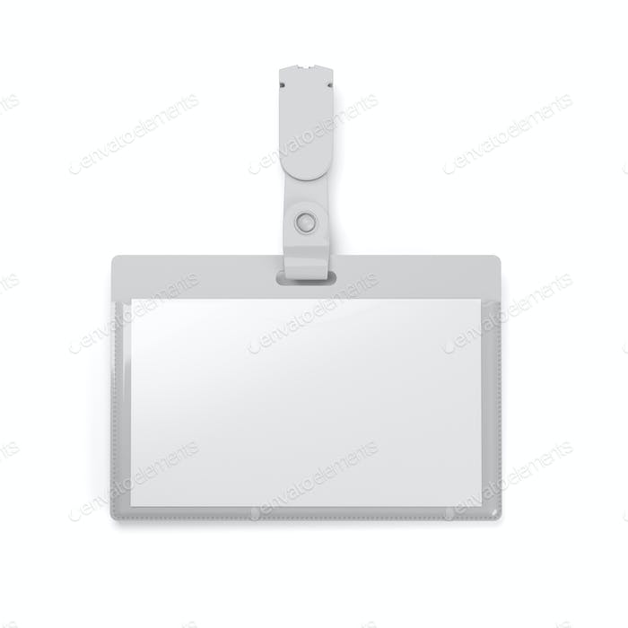 Blank badge ID holder isolated on white background. 3D rendering.