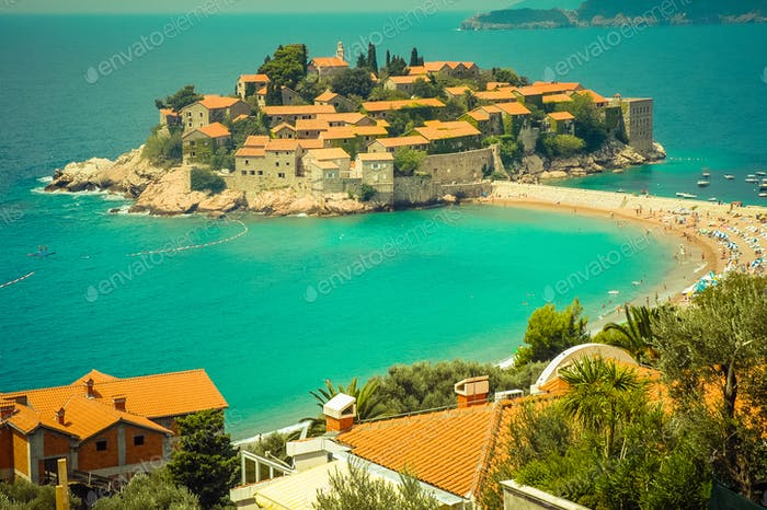 Sveti Stefan peninsula, small islet in the Mediterranean coast, Montenegro