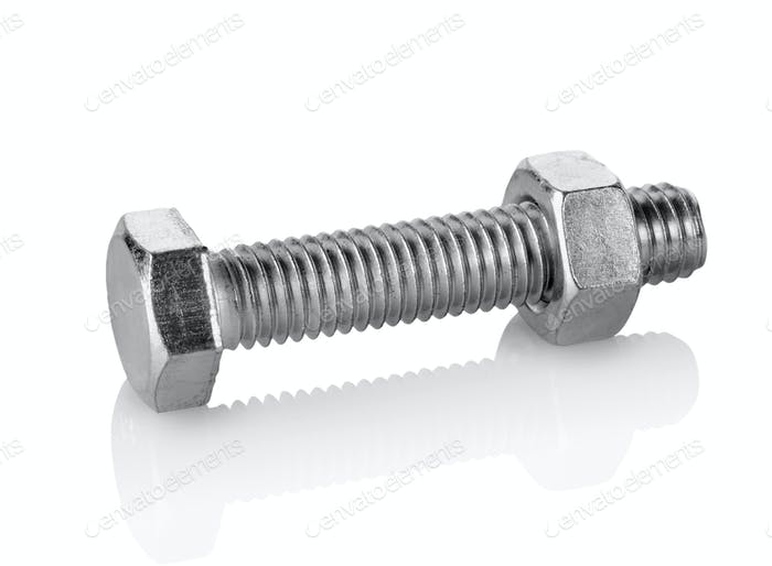 Big bolt and nut isolated