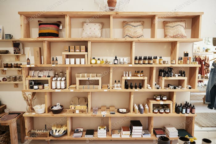 Display Of Cosmetics In Independent Store Without Customers