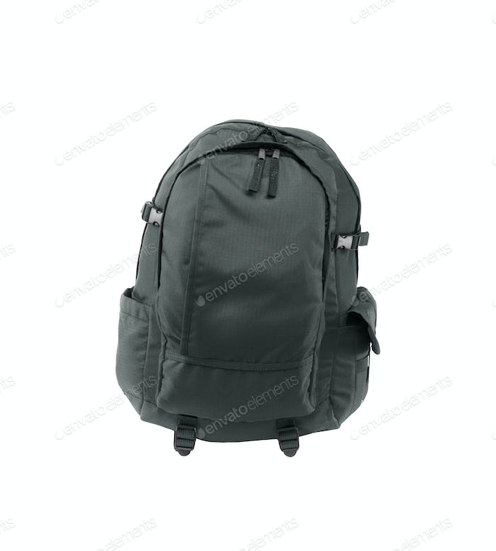 a black backpack isolated on a white background