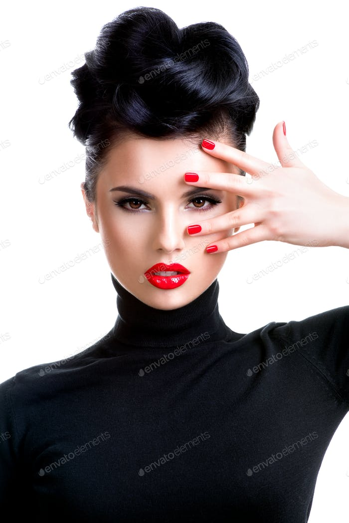 Woman with professional fashion make-up and manicure.