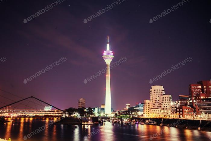 Night city landscape Dyusildorf. Media harbor. Germany.