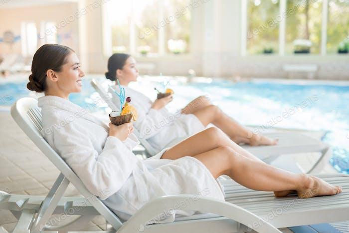 Girls at spa resort