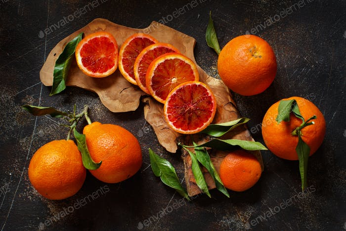 Fresh bloody  oranges  with leaves