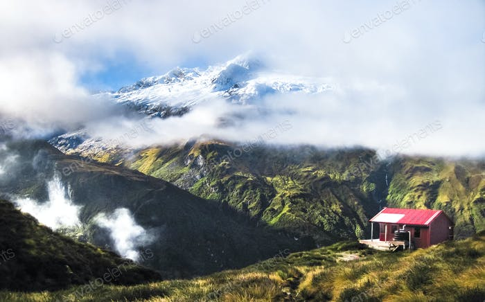 Liverpool Hut in the Mountains in New Zealand