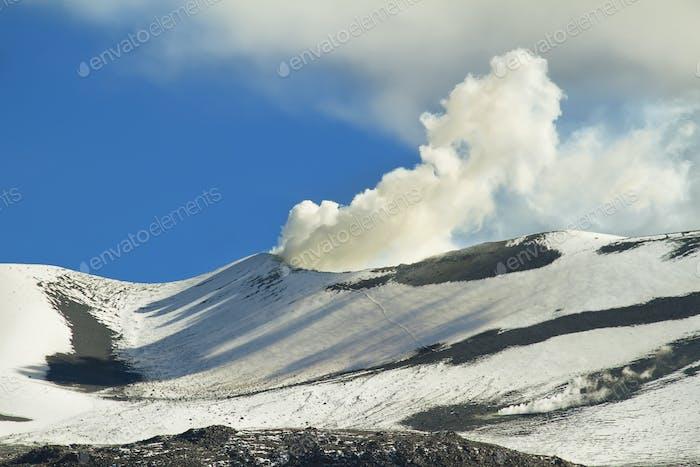 Cone of smoky volcano isluga