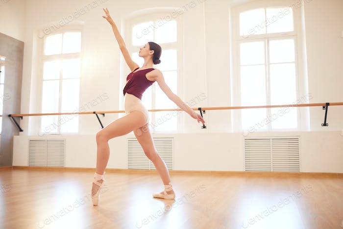 Elegant woman dancing in pointe shoes