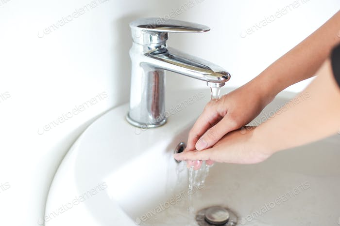 Washing and rub hand with water
