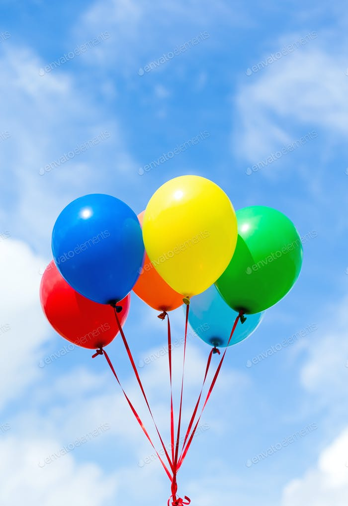 Colorful balloons with blue sky