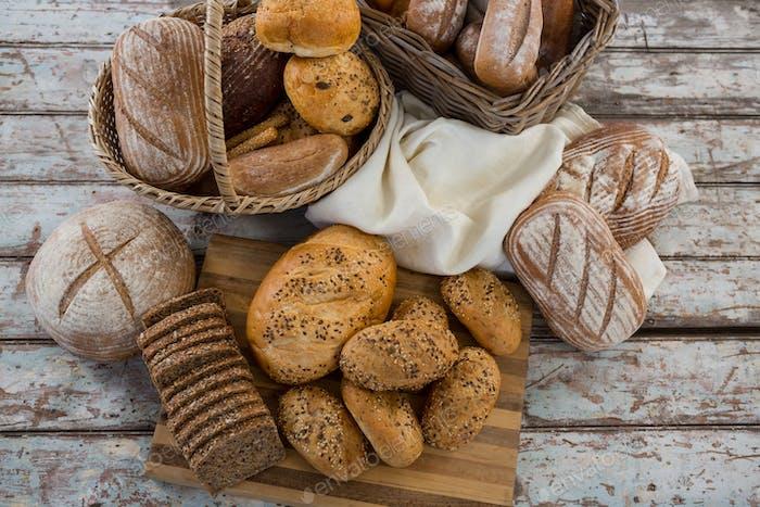 Various types of bread in wicker basket