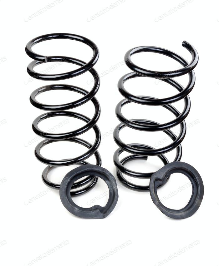 Set of two car springs and rubber spacers