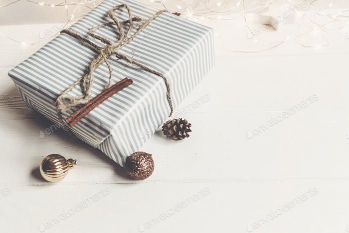 christmas wrapped presents with ornaments and toys