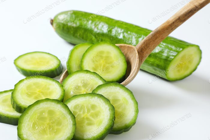 slices of green cucumber