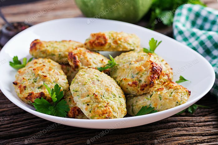 Chicken cutlet with zucchini. Healthy food.