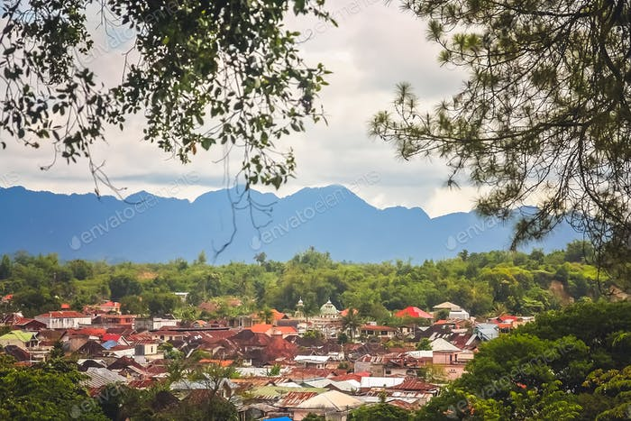 View of the Bukittingi town in Sumatra