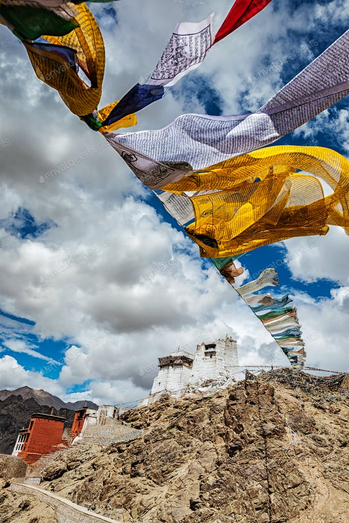 Leh gompa and lungta prayer flags. Leh, Ladakh, India