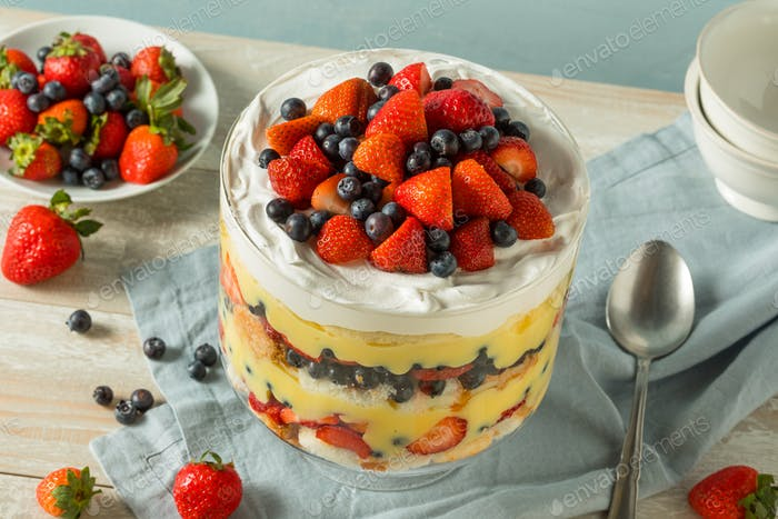 Sweet Homemade Strawberry Trifle Dessert