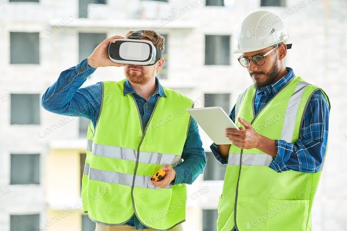 Construction Workers Using VR on Site