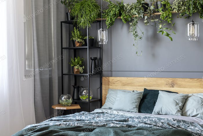 Grey bedroom interior with fresh plants on metal rack with decor