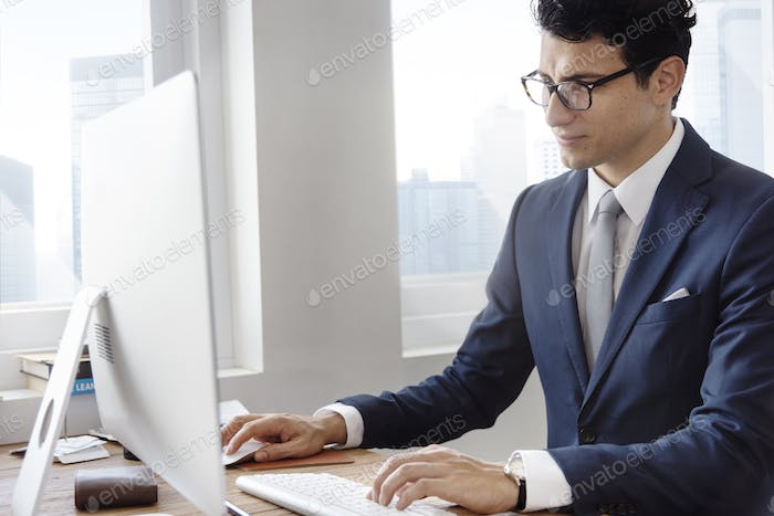 Business Man Busy Using Computer Concept