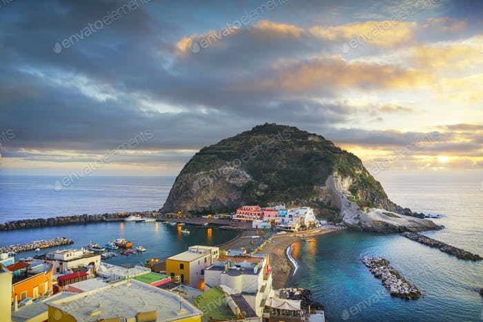 Sant Angelo beach and rocks in Ischia island. Campania, Italy.