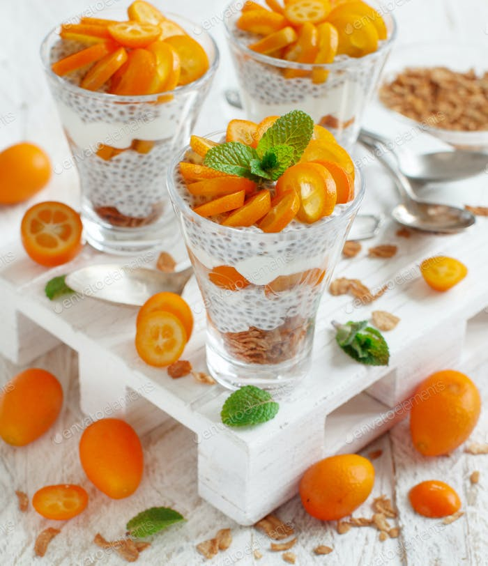 Chia pudding parfait with kumquat