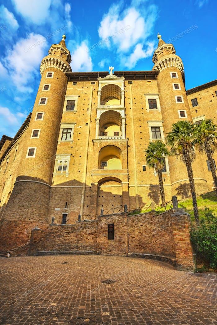 Urbino Herzogspalast. Region Marche, Italien.