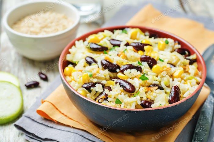 zucchini corn carrots red beans rice