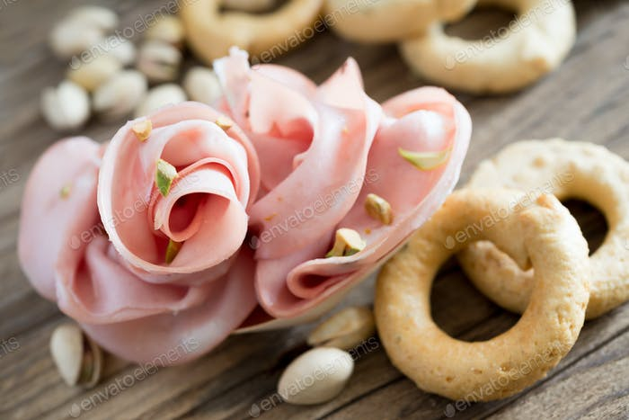 mortadella and pistachios