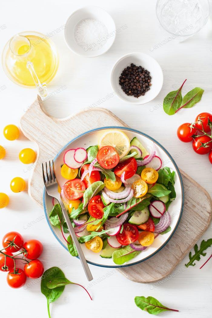 gesunde bunte vegane Tomatensalat mit Gurke, Rettich, Zwiebel