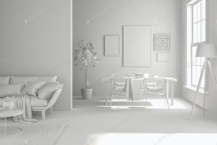 Interior of modern living room with sofa and furniture 3D rendering
