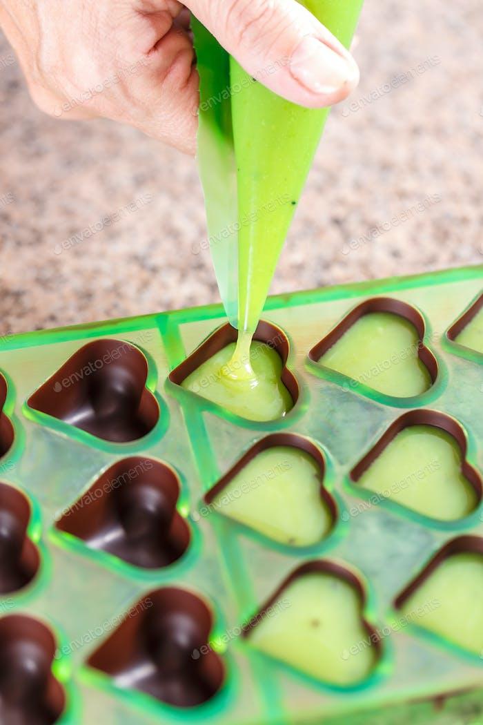 Homemade chocolate praline