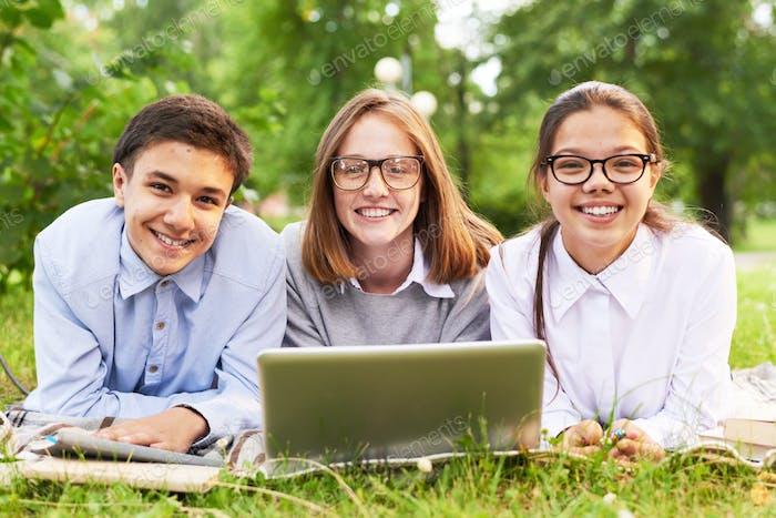 Students Having Fun in Park