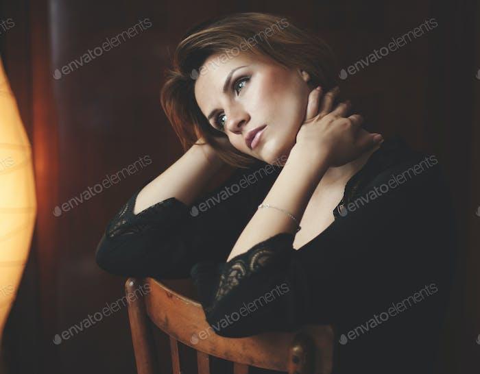 Boudoir photo of sexy girl wearing stylish black lingerie underwear,