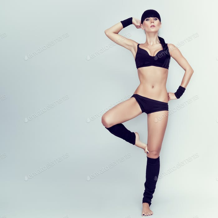 beautiful girl in the pose of a dancer