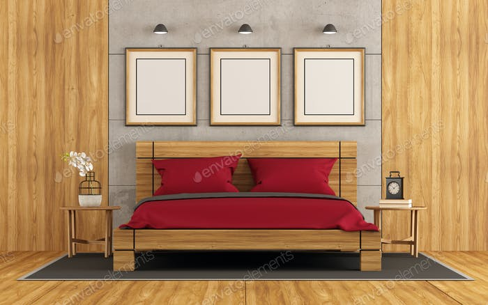 Wooden and concrete master bedroom