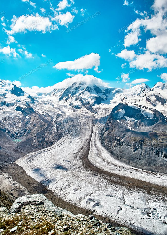 Landscape of snowy mountains, swiss Alps